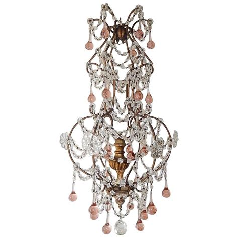 Pink Beaded Chandelier Pink Drops Macaroni Bead Swags Chandelier For Sale At 1stdibs