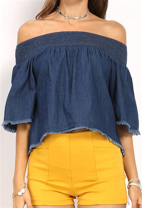 Shoulder Denim Top denim the shoulder top shop tops at papaya clothing
