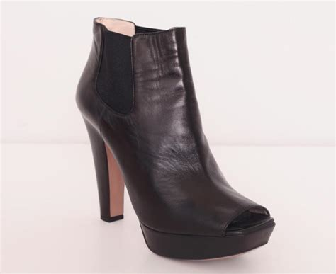 black leather high heel booties prada womens black leather high heel platform peep toe