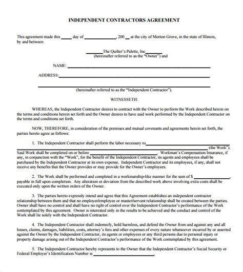 independent contractor agreement template free sle independent contractor agreement 12 documents in