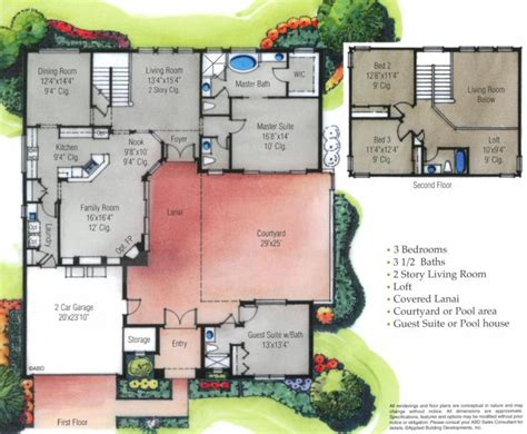 florida house plans with courtyard pool the courtyard ii custom home in orlando fl