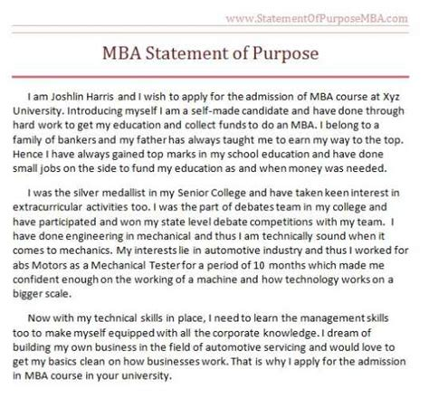 How To Start Mba Personal Statement by Statement Purpose Mba Australia 2018 2019 Studychacha