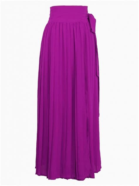 purple chiffon slit high waist maxi skirt abaday