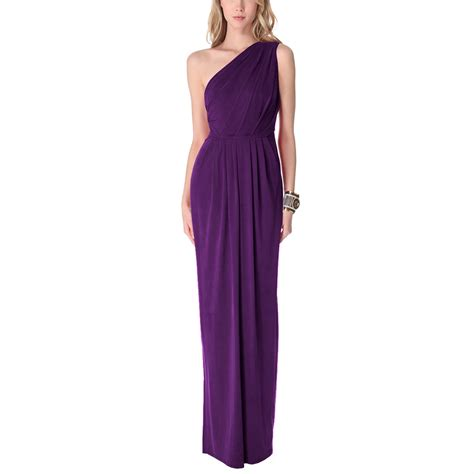 draped formal dress long draped one shoulder jersey formal gown evening dress