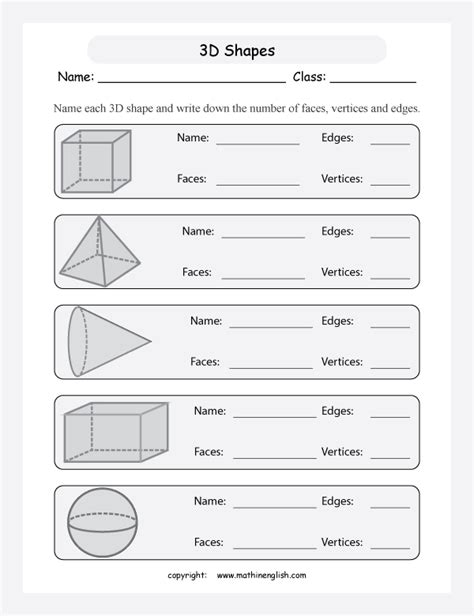 printable math worksheets faces edges and vertices name the 3d shapes and tell how many faces edges and