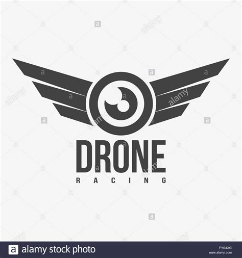 logo black and white vector black and white drone racing logo stock vector