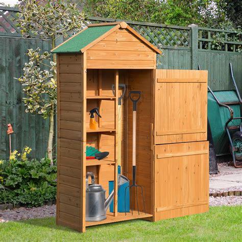 box porta attrezzi da giardino outsunny casetta box porta attrezzi in legno da giardino