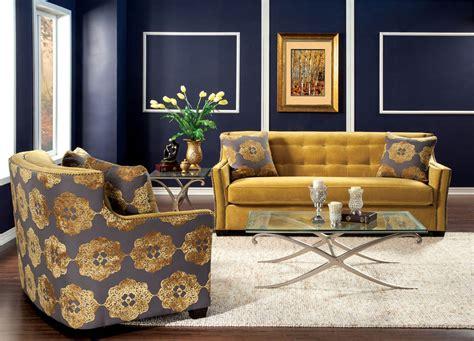 piece contemporary gold sofa set