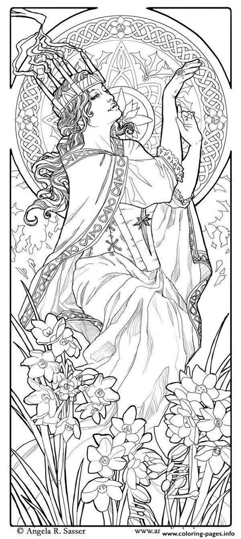 coloring pages for adults art adult woman art nouveau style coloring pages printable