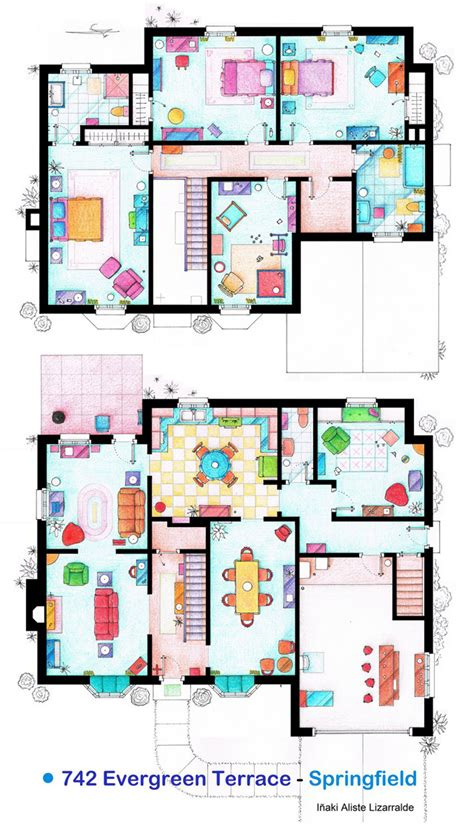 the simpsons house floor plan hand drawn floor plans of popular tv show apartments and houses