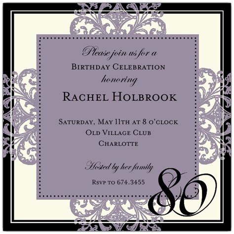 80th birthday invitation template decorative square border eggplant 80th birthday