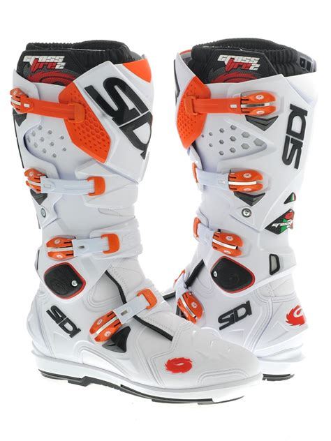sidi motocross sidi white orange crossfire 2 srs mx boot sidi