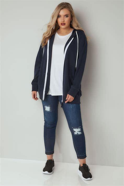 kaos wakai navy whhite size 36 43 navy white zip through hoodie plus size 16 to 36