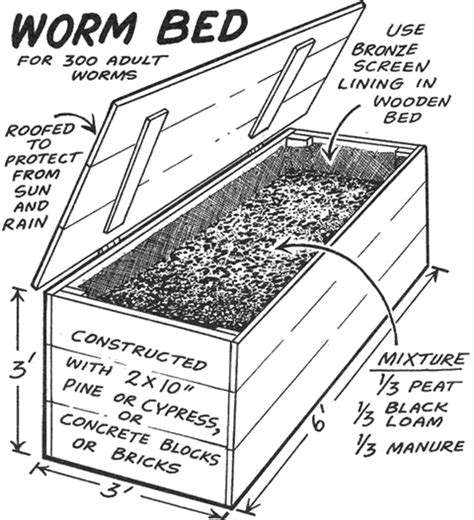 worm beds worm bed for 300 adult worms gardening structures pinterest