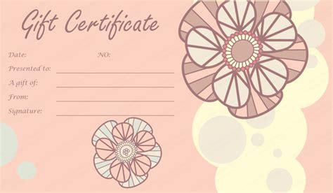 printable wedding gift certificates tea pink flowers gift certificate template