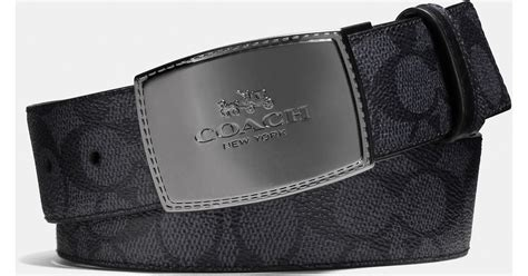Belt Coach Wide Reversable Sign Embossed Black Original coach wide stitched plaque cut to size reversible signature belt in gray for lyst