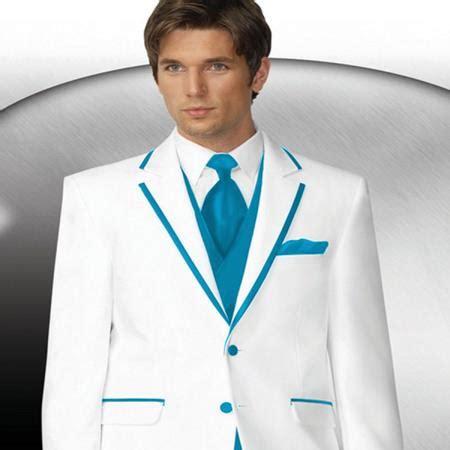 sku#pn82 mens 2 button style white tuxedo with turquoise