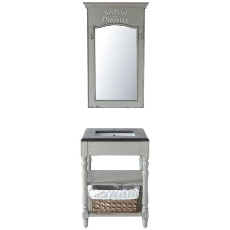 meuble vasque en bois et marbre gris clair l 65 cm