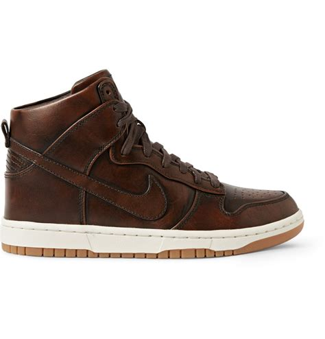 nike brown sneakers nike lab dunk high sp burnished leather sneakers in brown