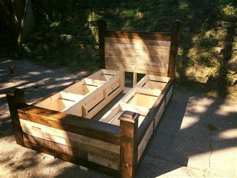 pallet bed frame plans pallet bed with storage plans recycled things