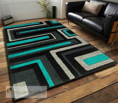 Small Teal Rug by Modern 921 Q Designer Black Teal Funky Cheap Price Rug In