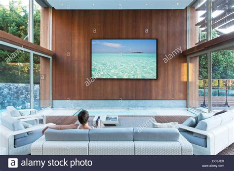 Living Room With Flat Screen Tv by Large Flat Screen Tv In Modern Living Room Stock Photo Royalty Free Image