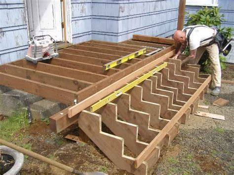 building deck stairs   step  step process