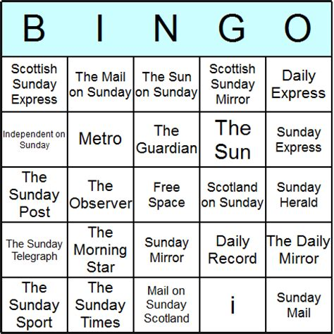 Uk Bingo Card Templates by Uk Newspapers Bingo Cards Printable Bingo Activity