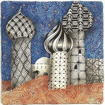 zentangle pattern groovy enthusiastic artist overlaid tangles a tutorial