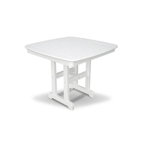 White Patio Dining Table Trex Outdoor Furniture Yacht Club 37 In Classic White Patio Dining Table Txnct37cw The Home Depot