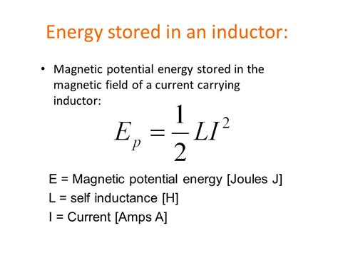 energy stored in inductor magnetic field inductors circuit diagram symbol ppt