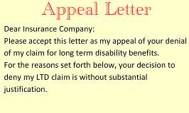Term Disability Appeal Letter by Term Disability Attorney In Florida Lawyer For