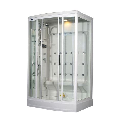 Home Depot Shower Kits by Aston Za219 52 In X 39 In X 85 In Steam Shower Enclosure Kit In White With 24 Jets And