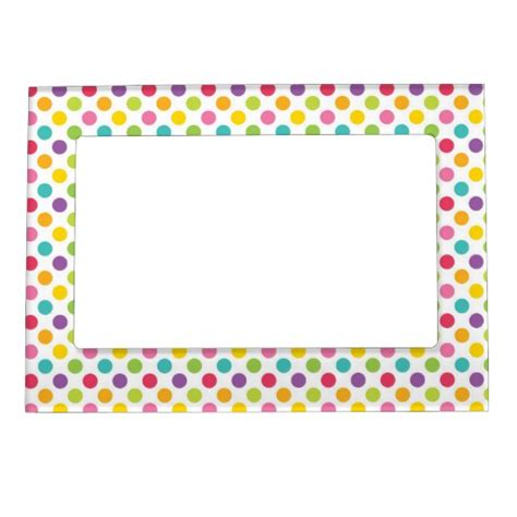 colorful picture frames colorful polka dot magnetic picture frames zazzle