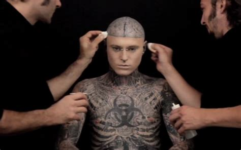 tattoo cover up guy video zombie boy demonstrates ultimate tattoo concealer