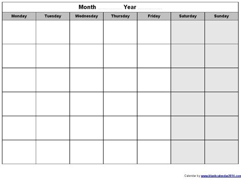 monday to sunday calendar template online calendar templates