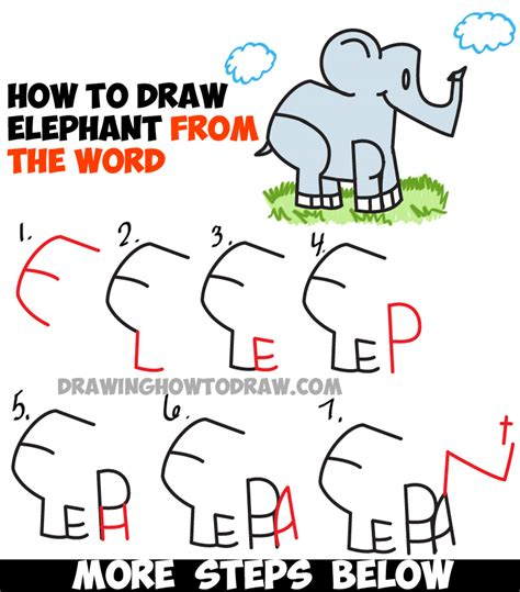 how to draw doodle words how to draw elephants from the word elephant