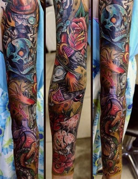 new school tattoo sleeve ideas new school skull tattoo sleeve best tattoo ideas