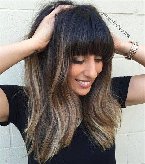 balayage and bangs 50 cute and effortless long layered haircuts with bangs