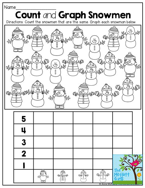 kindergarten graphs printable worksheets december no prep packet kindergarten snowman count