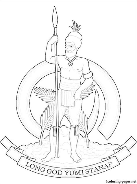 vanuatu coat  arms coloring page coloring pages
