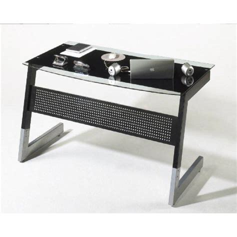 Metal Computer Desk With Glass Top Pico Black And Clear Glass Top Computer Desk With Metal