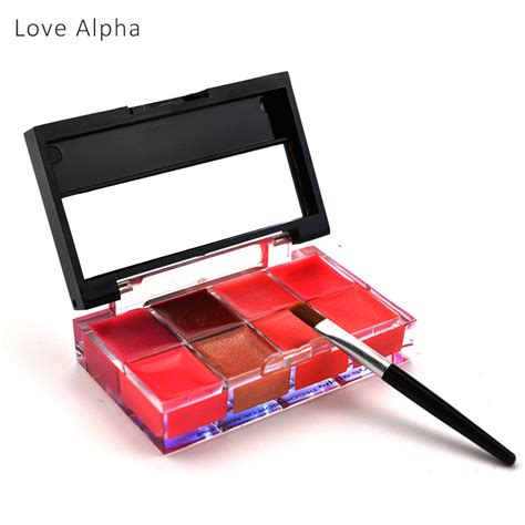 Meis 8 Colors Lipgloss 8 Colors Eyeshadow Palette Lc366 1 alpha makeup brand pro 8 colors make up lip gloss lipstick palette