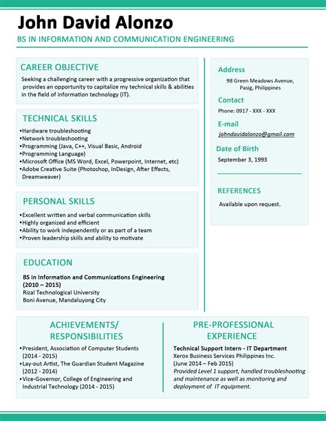 Resume Template Philippines sle resume format for fresh graduates one page format
