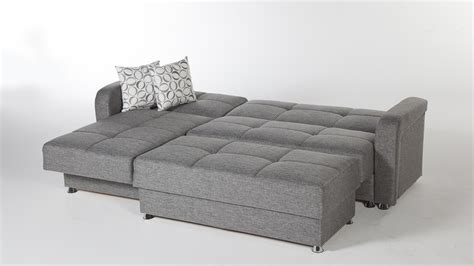 Large Sleeper Sofa Large 3 Microfiber Tufted Sectional Sleeper Sofa With Storage And Gray Color Plus Ottoman