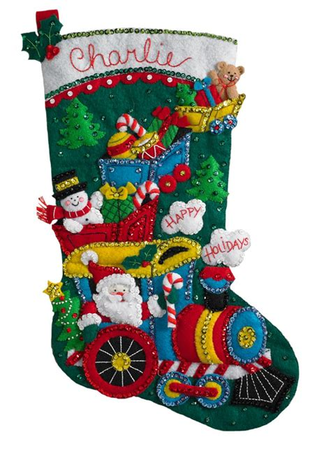 twenty five days of christmas minu stocking on a rope from crackabsral choo choo bucilla kit