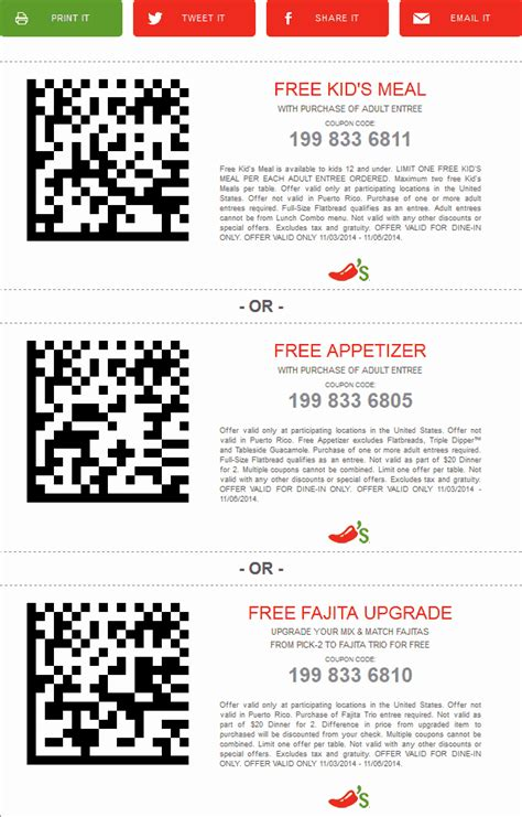 chilis printable coupon free appetizer chilis coupons free meal free appetizer free dessert