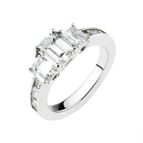 gemour sterling silver cubic zirconia emerald cut three