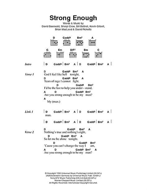 Strong Enough sheet music by Sheryl Crow (Lyrics & Chords