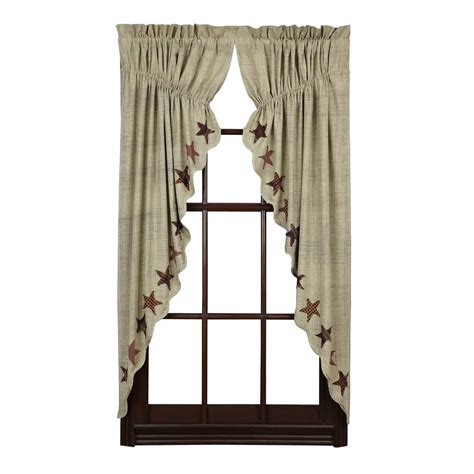 Primitive Country Curtains Abilene Prairie Curtain Set Applique Rustic Primitive Country Ebay